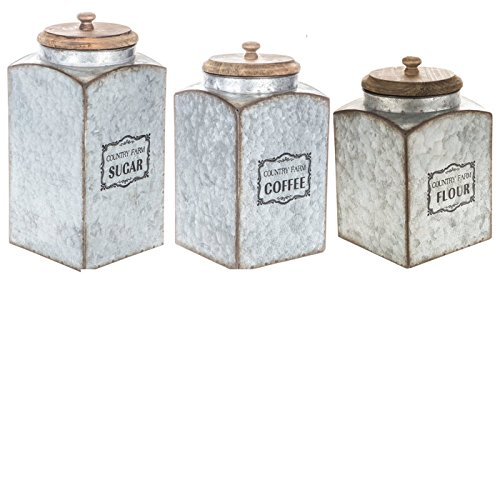 - Metal Flour Sugar Coffee Vintage Galvanized Kitchen Canister Set of Three Food Bins and Canisters