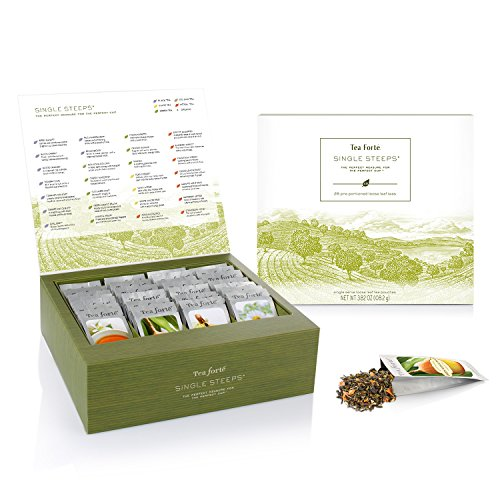 Tea Fort SINGLE STEEPS Loose Tea Sampler, Assorted Variety TEA CHEST Gift Set, 28 Different Single Serve Pouches - Black Tea, Green Tea, White Tea, Herbal Tea