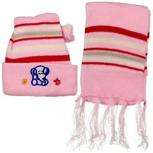 hot sell Infant Knit Beanie and Scarf Set - Pink on sale