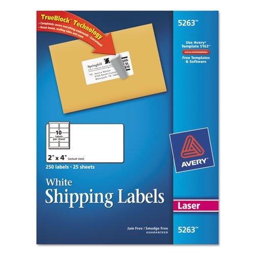 Avery 8163 TrueBlock Shipping Labels, Inkjet, 2 x 4, White, 250/Pack (Avery Dennison White Inkjet)