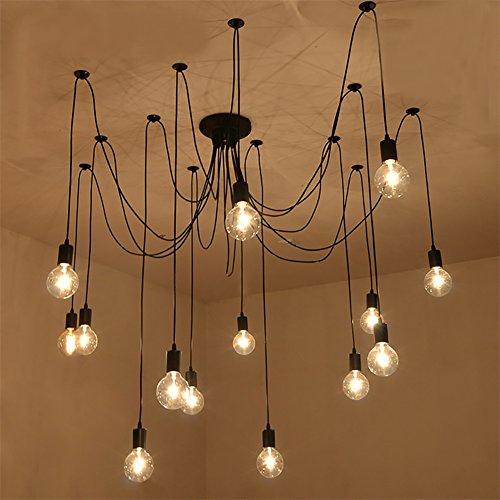 NAVIMC Black Vintage Industrial Pendant Light Fixtures Home Ceiling Light Chandeliers Lighting,Edsion Style (14 Lampholders)
