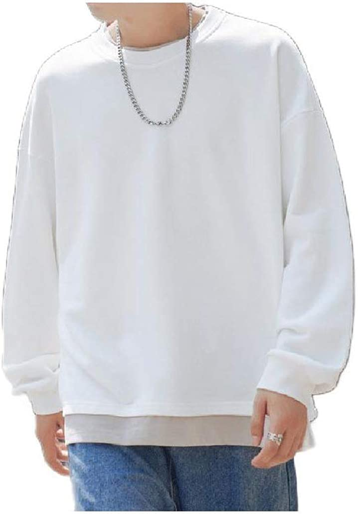Comaba Mens Solid Colored Fake Two Piece Hoodie Crew Neck Juniors Tees