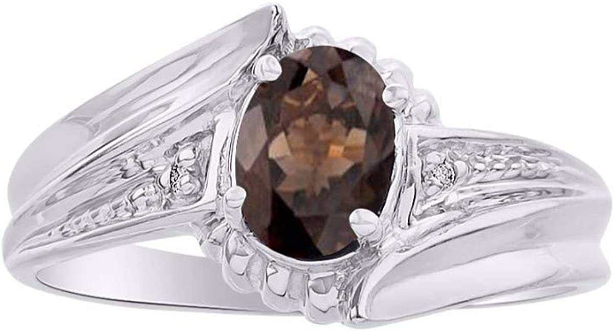 RYLOS Simply Elegant Beautiful Smoky Quartz /& Diamond Ring June Birthstone