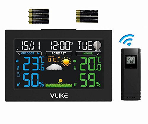 VLIKE Wireless Weather Station, Indoor Outdoor Color Forecast Station with Sensor, Home Alarm Clock with Temperature Alerts