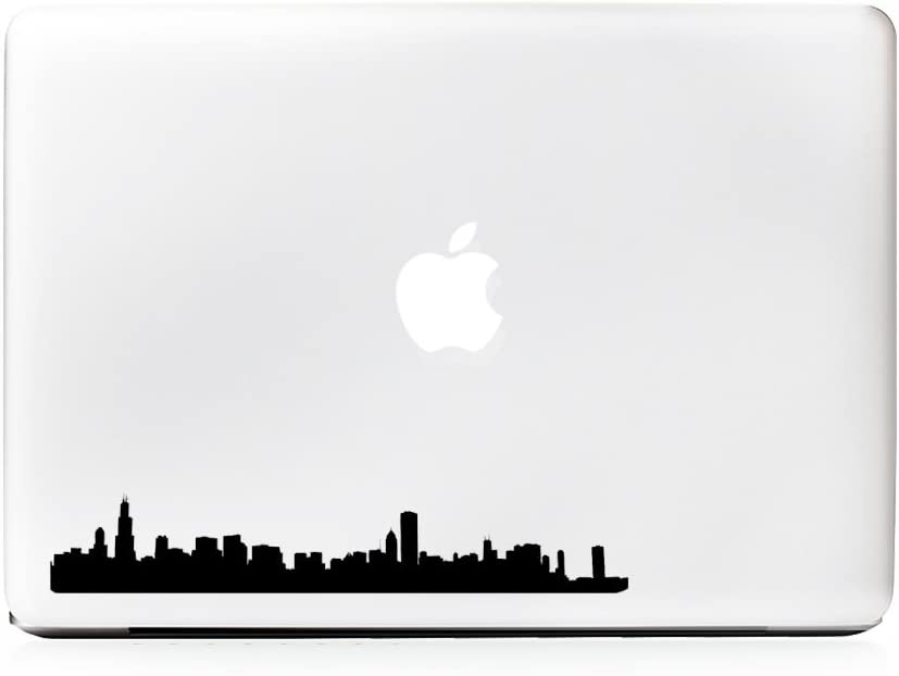 (2x) StickAny Laptop Series Chicago Skyline Sticker for Macbook Pro, Chromebook, Surface Pro, and More (Black)