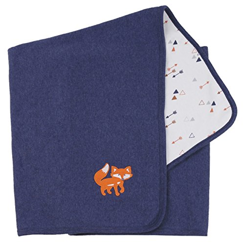 Asher and Olivia Baby Boys' Receiving Blankets Reversible Arrow and Navy Fox Print. Size 30x40 Inch (Blanket Reversible Crib)