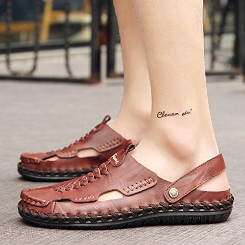 Männer Freizeit Sandalen Strand Schuhe Lüftung Sandalen Handgefertigte Nahtschuhe, Braun, UK = 5,5, EU = 38