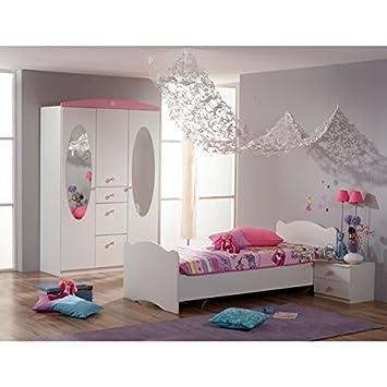 Jugendzimmer design mädchen weiß  Kinderzimmer 3-teilig weiß / rosa Jugendzimmer Kleiderschrank Bett ...