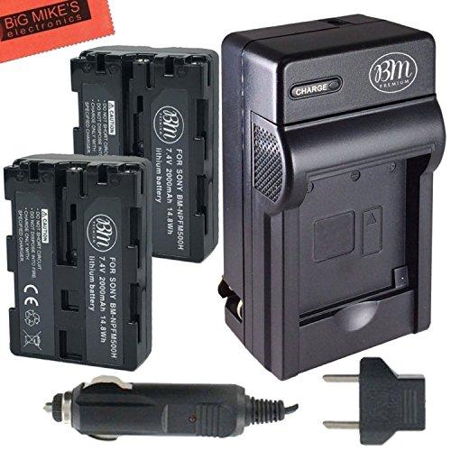 BM Premium 2 NP-FM500H NPFM500 Batteries and Charger for Sony Alpha a68, a77II, SLT-A57, A58, A65V, A77V, A99V, A100, A200, A300, A350, A450, A500, A550, A560, A580, SLT-A700, SLT-A850, SLT-A900 DSLR