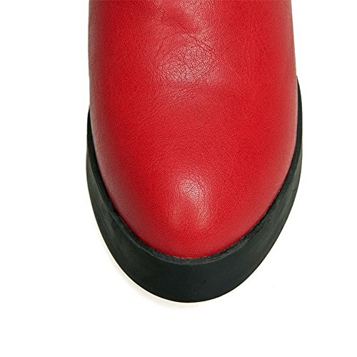 AllhqFashion Mujeres Sin cordones Cuña Sólido Caña Baja Botas con Lazos Rojo