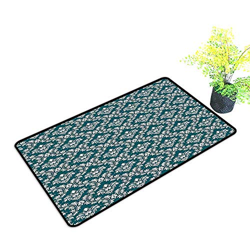 gmnalahome Large Door Mats Shoes Scraper Historic Ornamental Royal Venetian Nobility Medieval Ative Foliage Use for Front Door Entrance W35 x H19 - Nobility Soak