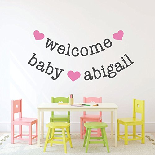 Personalized Name Nursery Wall Decal - Welcome Baby