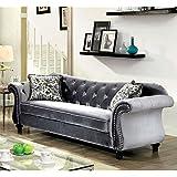 Furniture of America Sharon Tufted Fabric Sofa in Gray