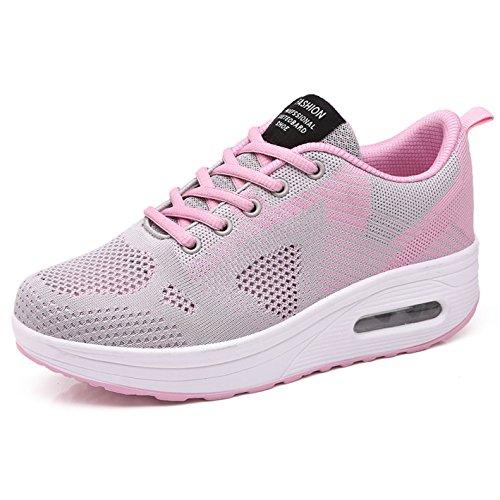 Sneaker Damen Plateau Atmungsaktiv Mesh Turnschuhe Frauen Leicht Outdoor Wedges Sportschuhe Größe 35-42 Y-schwarz