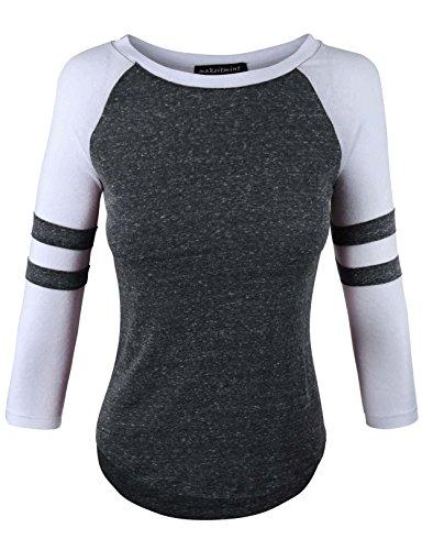 makeitmint Women's Color Contrast 3/4 Stripe Sleeve Baseball T-shirt Top Medium (Stripe Raglan Tee)