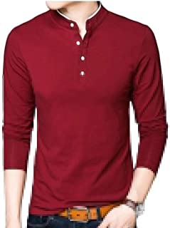 Generic Men's Solid Casual Long Sleeve Stand Collar/V Neck Henley T-Shirts
