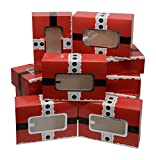Christmas Cookie Gift Boxes; rectangle with clear window; Santa Buckle design with premium metallic silver hot-stamp; set of 12 boxes; holds approximately 2 pounds of cookies or pastries