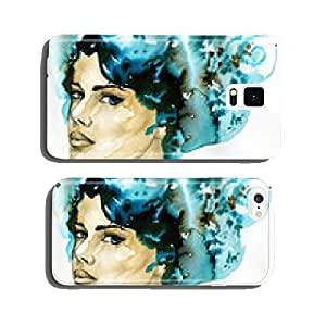 abstract watercolor illustration depicting a portrait of a woman cell phone cover case Samsung S6