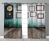 Thermal Insulated Blackout Grommet Window Curtains,Clock Decor,A Vintage Clock and Empty Picture Frames in an Old Room Wooden Backdrop,Green and Brown,2 Panel Set Window Drapes,for Living Room Bedroom