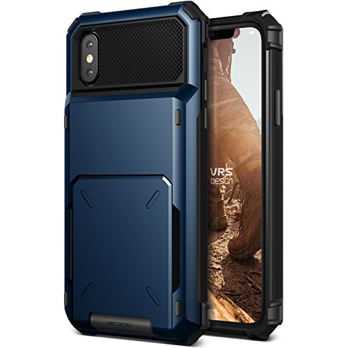 VRS Design iPhone X / XS Case, [Damda Folder] Protective Wallet 5 Card Holder Case Premium Shockproof Heavy Duty Cover Compatible with Apple iPhone X / XS - Deep Sea Blue