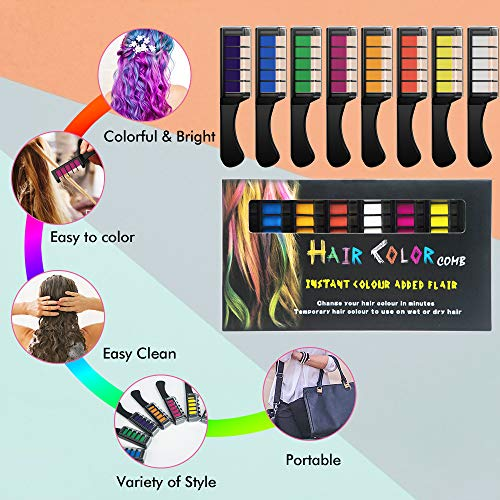 NANW Hair Chalk Comb with Protector Cover, 8 Colors Temporary Hair Color Chalk Dye Crayon Salon Set for Girls Teen Kids…