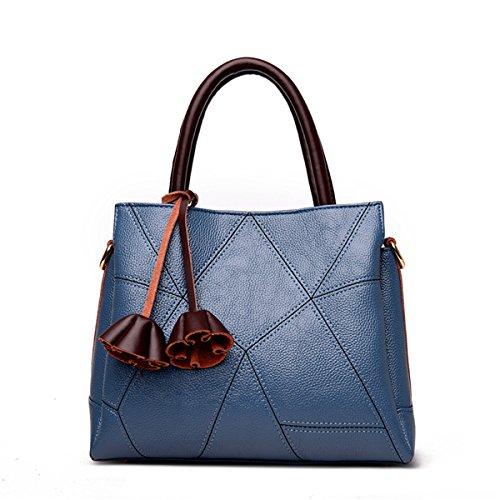 Retro casual femenino de mediana edad Bolso Bolso Bolso bolso de moda, azul