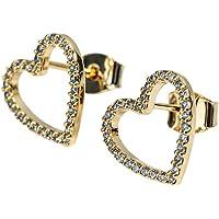 LuckyLy – Aretes Swarovski Mujer (estilo) – Aretes Corazón Bella – Baño de Oro Rosa, Oro o Plata con Zirconia Cúbica (Cristales tipo Swarovski) – Regalo Mujer San Valentín