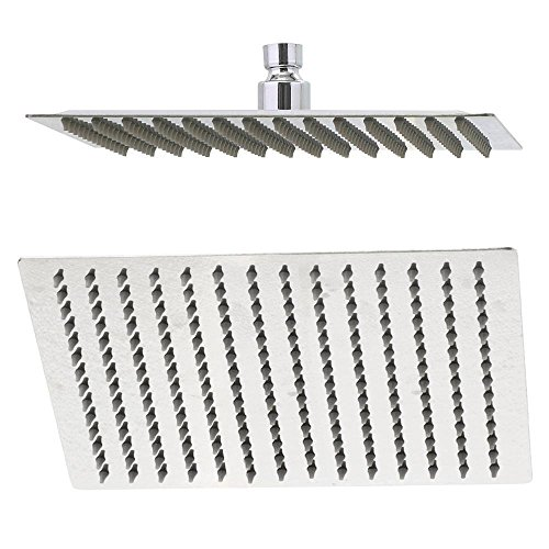 10' Stainless Steel Cover (Rain Shower Head, 10 Inch Ultra Thin 304 Stainless Steel Solid Square Showerhead, High Pressure Rainfall Showerhead With Chrome Finish,Water Saving)