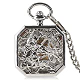 Luxury Pocket Watch, Silver Tone Luxury Mechanical Pocket Watch, Double Tiger Pattern Gifts for Men Women