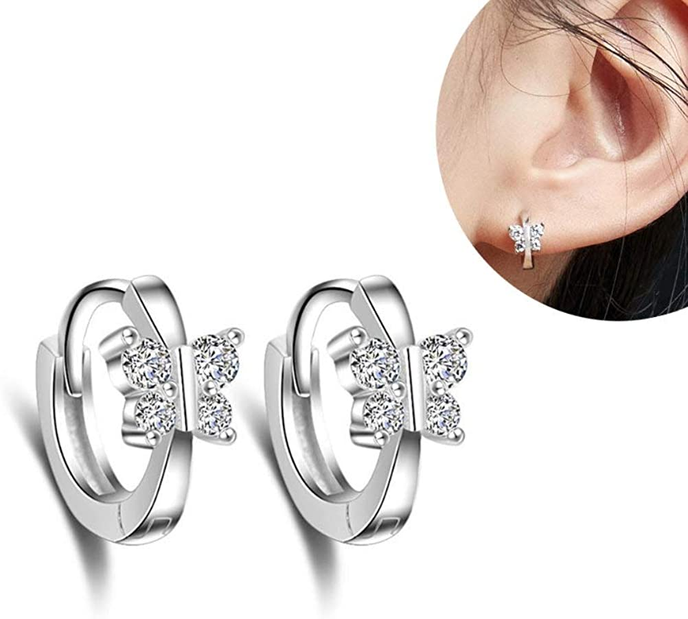 per donne e ragazze Piccoli orecchini a cerchio in argento Sterling con cristalli di zirconia cubica