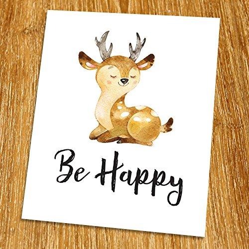 Be happy Print (Unframed), Kid Room Decor, Deer Art, Nursery Wall Art, Bear Art, Children Art Print, Woodland set, Playroom Wall Art, Baby Shower Gift, 8x10