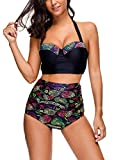 Memory baby Women Retro Style Adjustable Straps Swimwear with Briefs Black XL