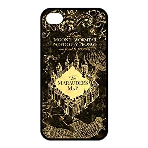 Hogwarts Marauder's Map Harry Potter Movie Series Design Black Silicone Case for Iphone 4/4S