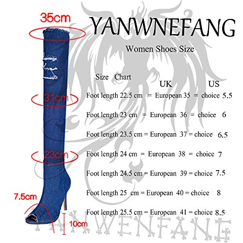 knee summer jeans peep Light the Blue long high Women size Over heels Fashion plus boots toe Boots boots autumn Etwzx1q