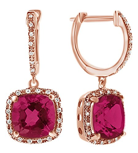 Black Friday Deals Cushion Cut Simulated Pink Sapphire With Natural Diamond Halo Stud Earrings In 14K Solid Rose Gold