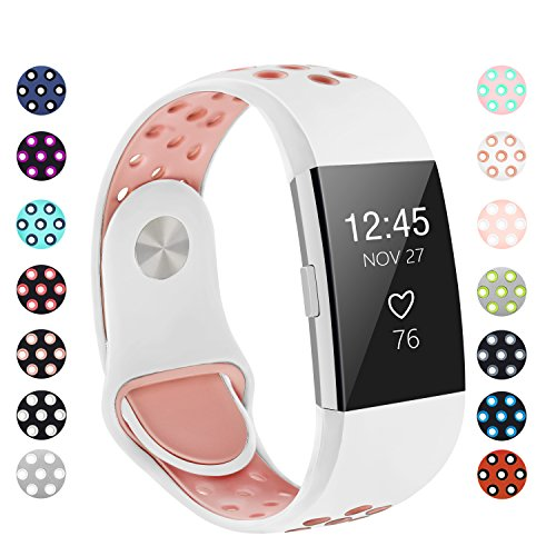 POY Replacement Bands Compatible for Fitbit Charge 2, Adjustable Breathable Wristbands with Air Holes Straps, Small White Pink
