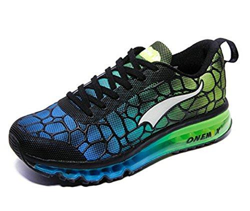 Onemix Herren Air Laufschuhe Sportschuhe mit Luftpolster Turnschuhe Leichte Schuhe Himmel blau / grün