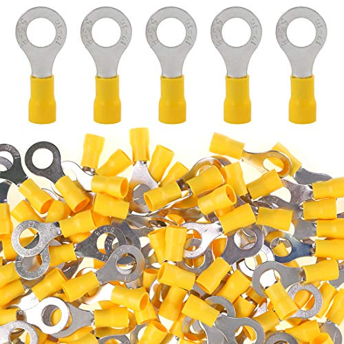 Glarks 100pcs 12-10 Gauge M8 Ring Electrical Insulated Quick Splice Crimp Terminals Connectors (10awg Terminal)