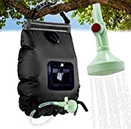 Solar Shower Bag 5 Gallons/20l Portable Outdoor Heating Camping Shower Bag with Upgraded Removable Hose &