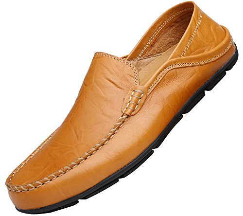 VanciLin on brown137 Fashion Slip Casual Leather Shoes L Men's Loafers qCOqfHg