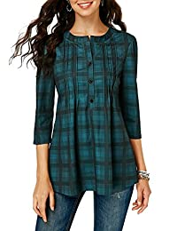 onlypuff Womens Plaid Button Shirts 3/4 Sleeve Blouses Casual Tunic Tops