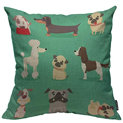 - Mugod Animals Throw Pillow Cover Cute and Funny Cartoon Breed of Dog Dachshund Pug Poodle Bulldog and Spaniel Decorative Square Pillow Case for Home Bedroom Living Room Cushion Cover 18x18 Inch
