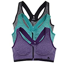 B.BANG 3-PACK Women Zipper Push Up Underwear Fitness Running Sports Bra