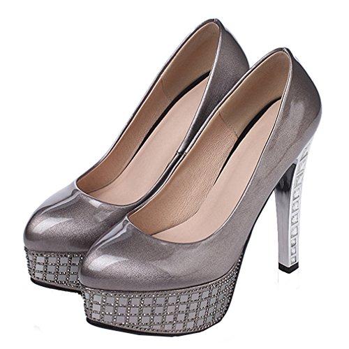 AIYOUMEI Damen knöchelriemchen Stiletto Plateau Schwarz Pumps mit Schnürsenkel und 13cm Absatz Elegant Schuhe ogQITuv