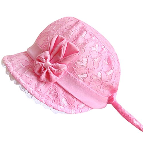 Swyss Baby Girls Cute Cotton Brimmed Eyelet Lace Bonnet with Heart Hot Pink