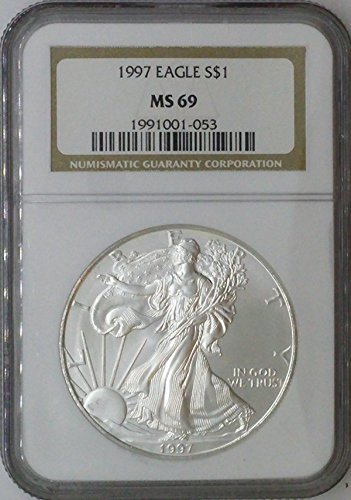 1997 American Eagle $1 MS69 NGC Silver Dollar Old US Coin 90% ()