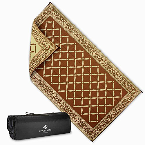 Reversi Mats Large Mat and Rug (9 x 12') for Outdoors, RV, Patio, Trailer and Camping. Heavy Duty, Weather Resistant, Reversible Rugs. Comes with Storage Bag. Great For Picnics. Brown/Beige by Reversi Mats