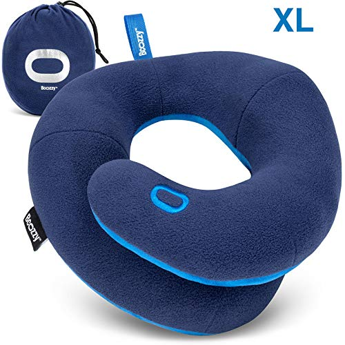 BCOZZY Chin Supporting Travel Neck Pillow - for Traveling and Comfortable Sleep on Airplane, Car Road Trips, Bus, Train, or at Home – Fully Machine Washable, Carry Bag. Adult XL, Navy