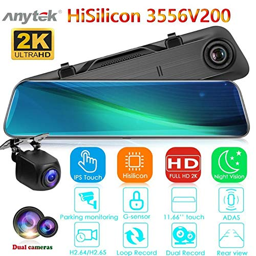 DishyKooker A9 Car DVR Camera Rearview Mirror Dashcam 11.66in Touch Screen IPS Dual Lens Night Vision HD Video Recorder Products
