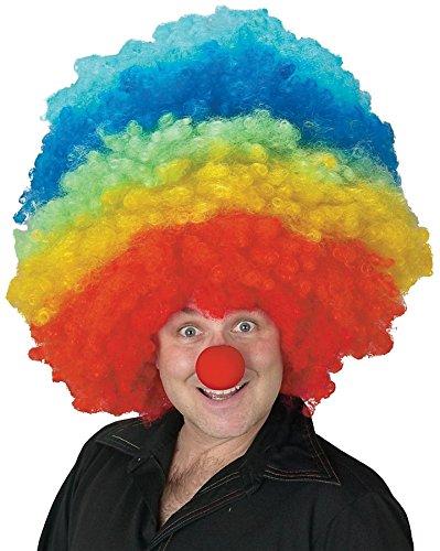 Bozo The Clown Wig (UHC Bozo The Circus Clown Rainbow Giant Jumbo Mega Afro Wig Costume Accessory)